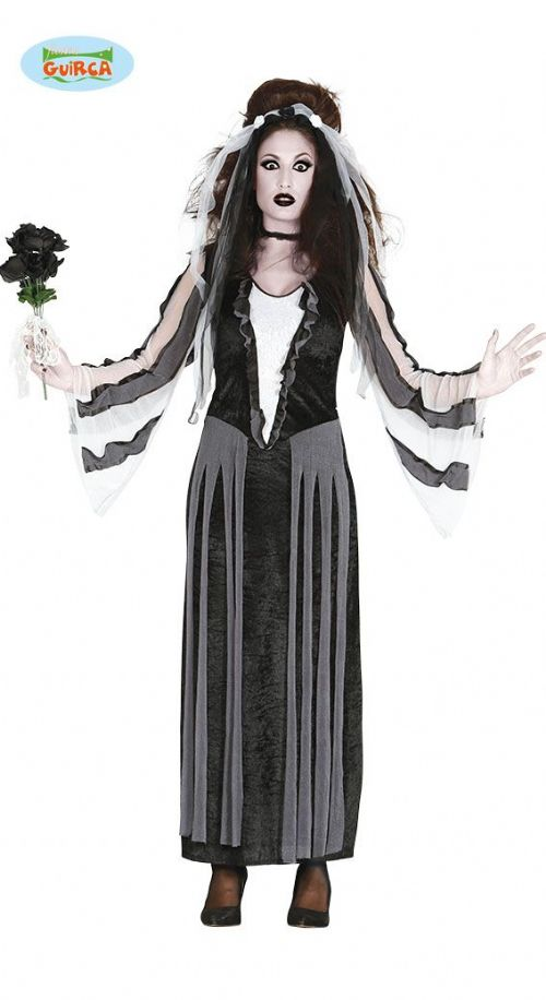Ladies Costume Dead Bride for Adult Black Rose Witch Halloween Fancy Dress